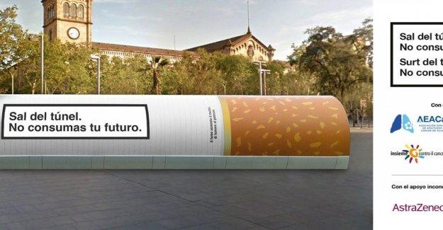 El cáncer de pulmón, poner un cigarrillo gigante en Barcelona