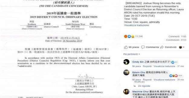 Hong Kong, Joshua Wong prohibió distrito de votación: la censura