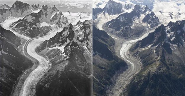 Los glaciares del Mont Blanc cambiado en un siglo