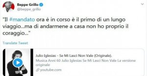 M5S, Grillo, bromeó sobre el mandato de cero: Para salir de casa, ya no tengo el coraje...