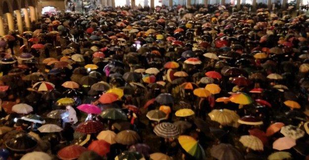 Módena, la piazza Grande se llena con sardinas