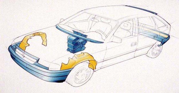Opel record en los componentes en el reciclado de plástico
