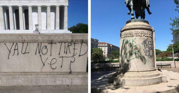 El famoso DC monumentos desfigurado después de la noche de protestas
