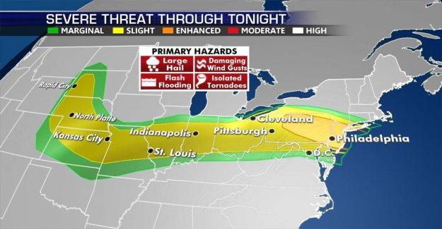 Amenaza de mal tiempo de 83 millones del medio oeste a Noreste, 'dañar' vientos posible