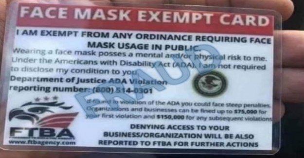 El DEPARTAMENTO de justicia advierte de los falsos folletos, documentos sobre la máscara de la cara de los requisitos de