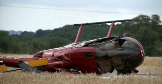 Helicóptero vuelque en un aterrizaje de emergencia