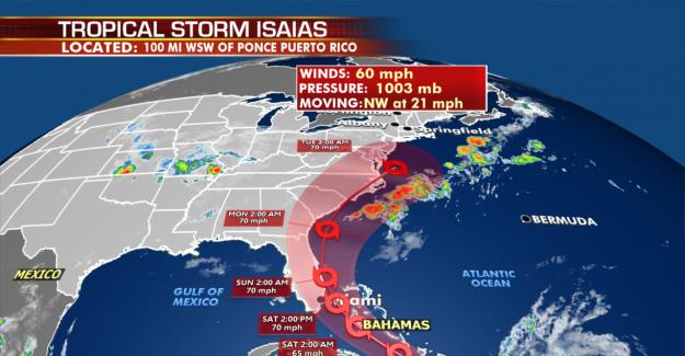 La Tormenta Tropical Isaías: los Estadounidenses deberían empezar a prepararse para la 'vientos, lluvias fuertes y tormentas, huracanes centro dice