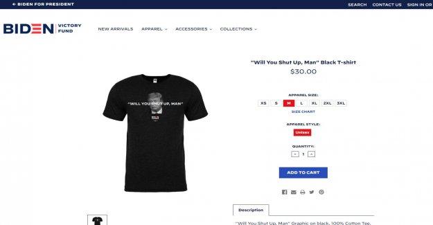 Biden campaña de venta de '¿Cállate, Hombre  camisetas siguiente primer debate presidencial