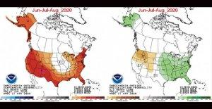 De verano de 2020, el clima se ha generalizado el calor, la humedad por medio oeste y el Este