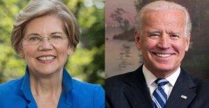 Elizabeth Warren, después de la toma de posesión de arriba de dólares la recaudación de fondos, para celebrar uno de Biden