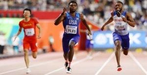 El velocista estadounidense Noah Lyles brevemente tops de Usain Bolt récord mundial después de carril mixup