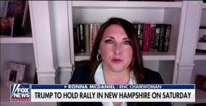 Ronna McDaniel vuelve a Dems golpeando el Triunfo para la programación de rally: Ellos estaban en silencio durante el ala izquierda de las protestas