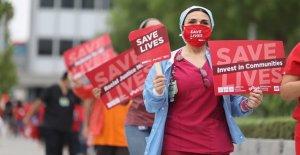 Tampa Asuntos de Veteranos de las enfermeras de protesta coronavirus riesgos de seguridad